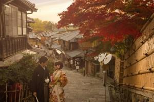 sunset with traditional kimono