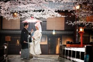 Sakura season and photos shooting in Gion at raining