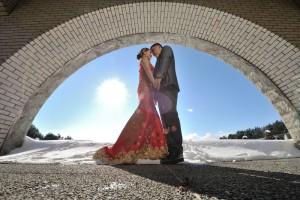 Pre wedding with snow landscape