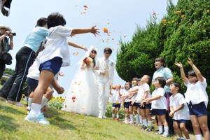 Nokonoshima Island wedding ceremony with kids
