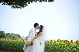 Nokonoshima Island wedding ceremony with sun flower