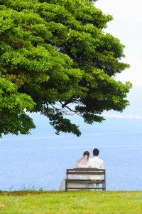 sit on the long chair at nokonoshima island