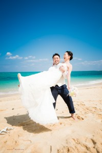 Okinawa Ceremony couple closeup highlight by Kafuu Wedding