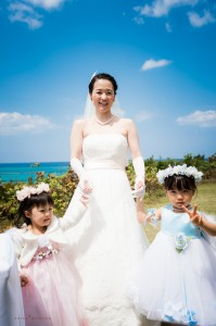 Okinawa Ceremony bride closeup highlight by Kafuu Wedding