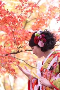 wedding in maple leaf scene