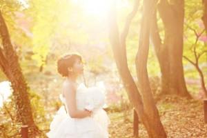 Bride in sunset