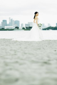 bride wears pure white wedding dress