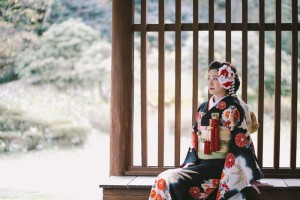 bride wears black furisode