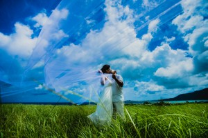 Kissing under sky