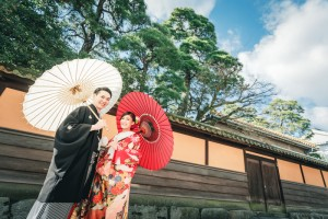 Pre wedding with Japanese traditional house scenery