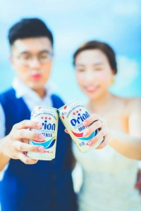 wedding photo with Orion beer
