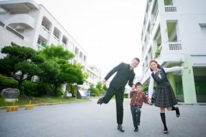family wear Japanese school uniform