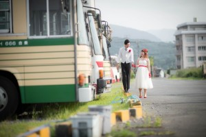 Photo shooting with vintage bus