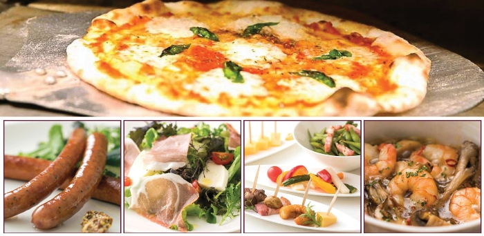 Fresh pizza and other dishes