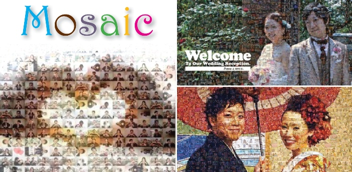 welcome board with couple's mosaic picture