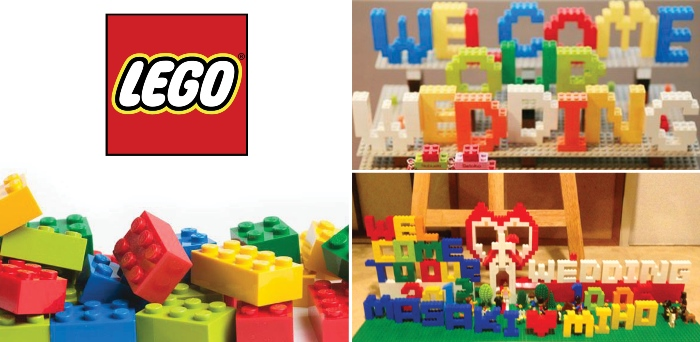 Welcome board with various colored LEGO