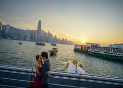 Sunset of ferry pier at Tsim Sha Tsui
